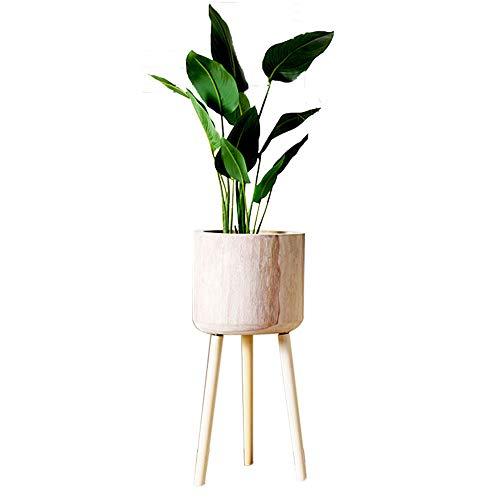 Baffect Soporte para plantas de bambú con maceta, soporte para macetas de madera para plantas, soporte para macetas para jardín, hogar, mesa, oficina, decoración interior (diámetro de la maceta 14 cm)