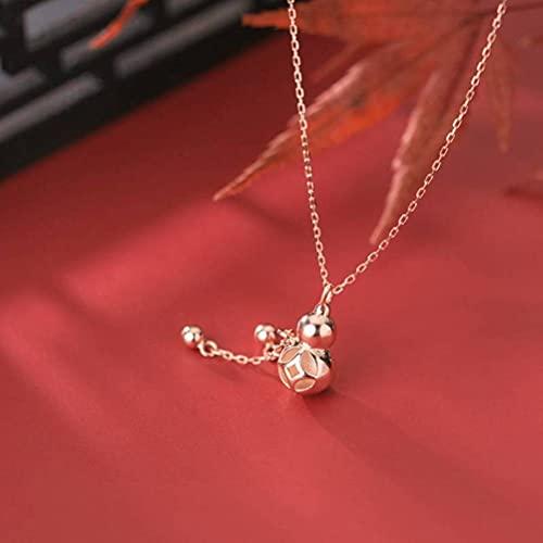 Good dress S925 Collar de calabaza de plata, señoras simple hueco luz perla borla clavícula cadena oro y rosa, plata 925