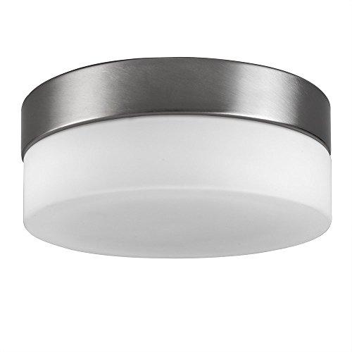 MiniSun – Moderne runde und flächenbündige Deckenleuchte aus Metall mit schönem weißem Lampenschirm aus Opalglas – E27 Deckenlampe
