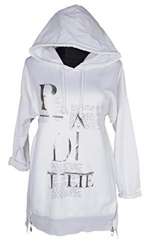 Damen Kapuzen Pullover Langarm Shirt Tunika Kleid Silber Print 36 38 40 42 44 S M L XL Sport Freizeit Party Weiß (38)