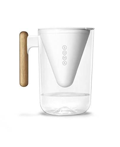 Soma Pitcher Plant-based Water Filtration, 10-Cup, White