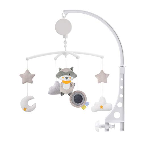 Móvil musical para bebé, universal, Nursery Baby Cot Bed Mobile Music Activity Crib Stroller Soft Toys for Newborn Infant Toddler (mapache)