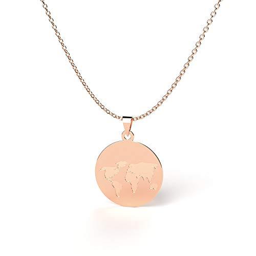 THIORA® - Halsketten für Damen | Große Auswahl | Verschiedene Motive | Edelstahl | 45+5cm Lang | Worldmap | Welt Kette | Herz Plättchen Palme (Weltkarte Gravur - Rosegold)