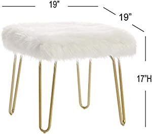 Cardinal & Crest Modern Square Ottoman Foot Rest Stool - Luxurious Faux Fur Covered Seat w/Sturdy Gold Hairpin Legs - Easy Assembly Accent Furniture Perfect for Use in Any Room - White Color