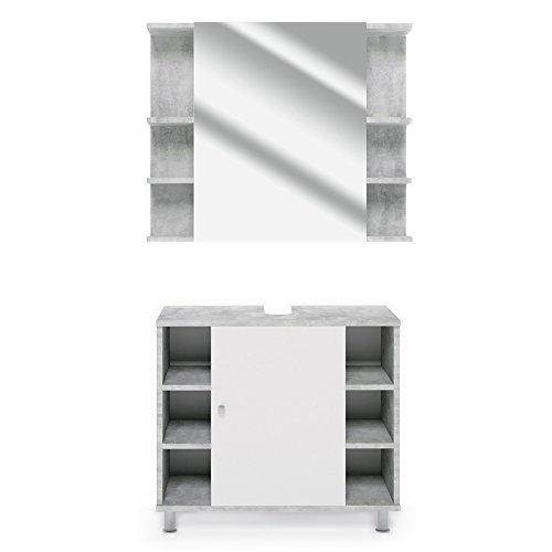 Vicco Badmöbel Set Badezimmermöbel Fynn Spiegel + Unterschrank + Midischrank + Hochschrank (Set 1, Beton)