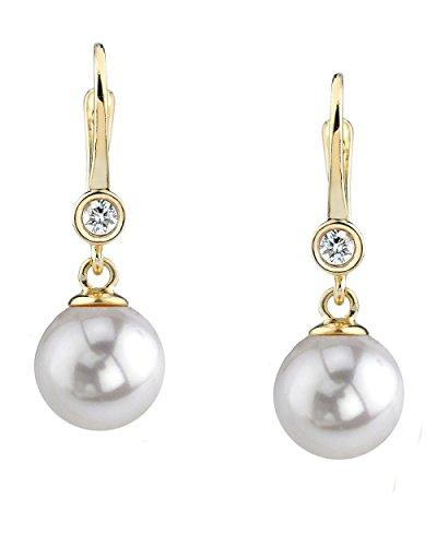 14 K oro blanco perla cultivada del Mar del Sur y del diamante pendientes de Michelle
