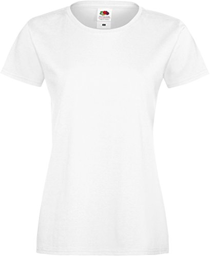 Fruit of the Loom Damen Sofspun T Lady-Fit T-Shirt, Weiß (White 000), X-Small