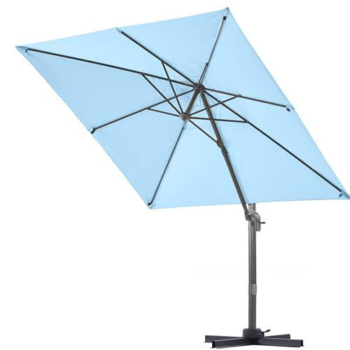 VINEY Bistro Square Patio Offset Umbrella, Outdoor Aluminum Cantilever Umbrella Solution Dyed Fabric Market Hanging Umbrellas with Cross Base | 360° Rotation & Infinite Tilting System(Sky Blue)