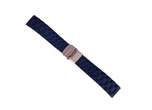 20mm correa de reloj de buceo de reemplazo de la correa del reloj deportivo antideslizante de goma azul con la seguridad plegado hebilla