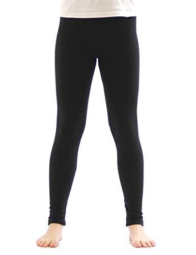 yeset Kinder Mädchen Thermo Leggings Fleece Hose lang Leggins aus Baumwolle schwarz 122