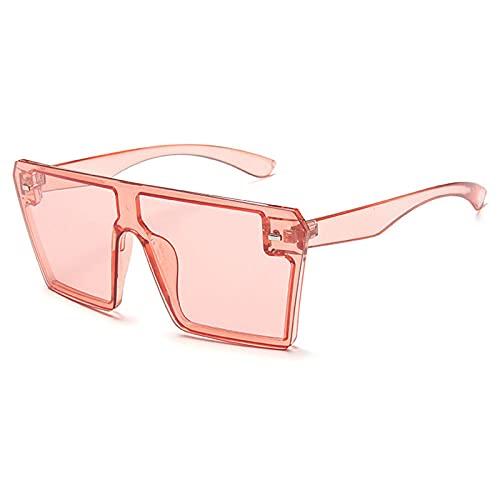 WQZYY&ASDCD Gafas de Sol Gafas De Sol Cuadradas De Gran Tamaño para Mujer, Gafas De Sol Cuadradas De Gran Tamaño para Mujer, Gafas De Sol con Gradiente Superior Planas para Mujer Uv400-Rosa