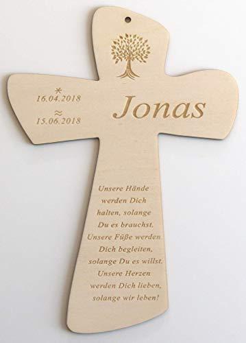 Taufkreuz mit Taufspruch personalisiert aus Holz, Geschenk zur Geburt und Taufe für Patenkind