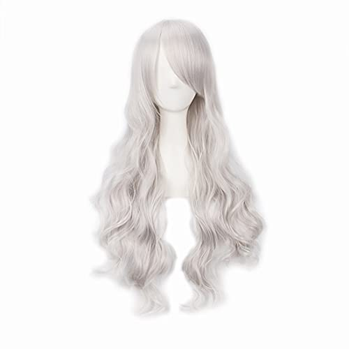 Aadesso 32'/80cm Silver White Side Bangs Wig For Women Long Wavy Heat Resistant Fiber Wigs Cosplay Party
