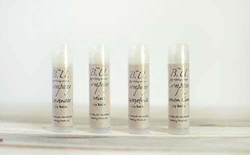 All Natural Lip Balm - Variety Pack - Grapefruit, Lemon Lime, Mint, and Lavender - All Natural Handmade - BU Company - 4 pack