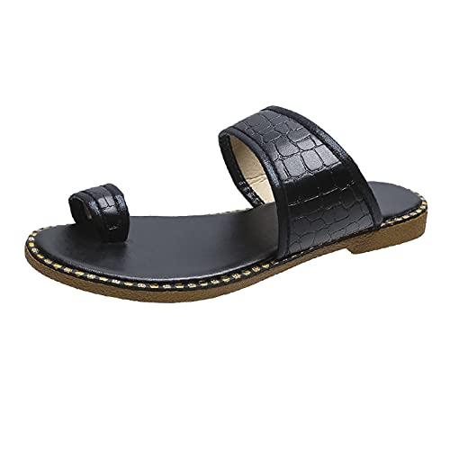 Damer sandaler spänne bekväm platt strand sandal Slingback Peep Toe Slip on sommar utomhus sandaler fritidsskor, - 2 svart svart - 40 EU