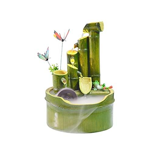 Fuente de Interior Fuentes de Resina Creativa Sala de Estar Decoración de Escritorio Forma de bambú Forma de Agua Fuente de Agua Lucky Mountain Rueda de Agua Waterscape