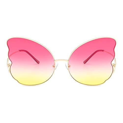 XFSE Gafas de sol Forma Mariposa Oro Gran Frontera Gafas De Sol Mujer Personalidad Metal Tendencia Moda UV400 Protección Polvo Amarillo Degradado Lente