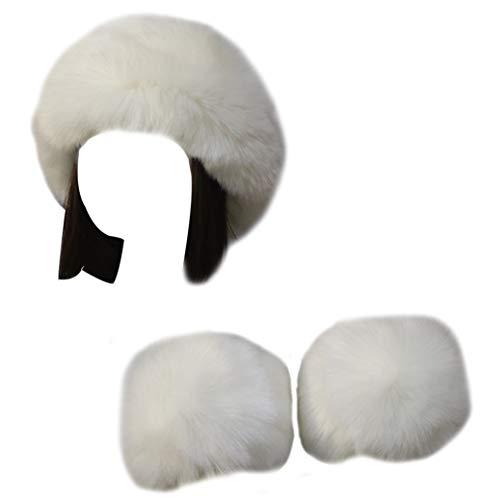 Vannawong - Diadema de pelo sintético para mujer, manga y manguitos para el clima frío Blanco Talla única
