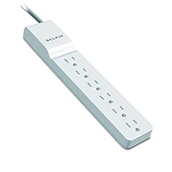 Belkin Power Strip Surge Protector - 6 AC Multiple Outlets - Flat Rotating Plug 8 ft Long Heavy Duty Extension Cord for Home Office Travel Computer Desktop & Charging Brick - White  720 Joules
