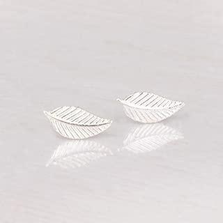 Sterling Silver Leaf Stud Earrings - Designer Handmade Small Post Earrings