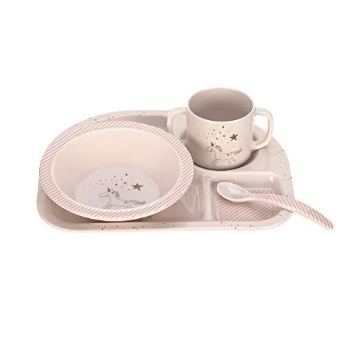 LÄSSIG Kindergeschirr Set mit Schüssel Tasse Löffel Teller rutschfest Melamin/Dish Set More Magic Horse, pink