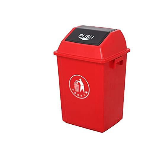 LSNLNN Basura de Basura, Contenedores de Reciclaje de Basura en Interiores, Papel de Plástico de 40-100L Papelera de Fábrica de Fábrica Parque de la Limpieza de Basura Al Aire Libre,Rojo,40L