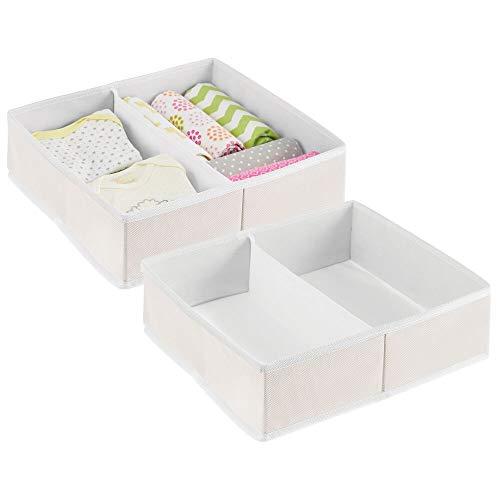 mDesign Juego de 2 Cajas para almacenar Ropa, Cosas de bebé, etc. – Organizador de cajones de Tela para Cuarto Infantil – Cesta organizadora para armarios con 2 Compartimentos – Color Crema/Blanco