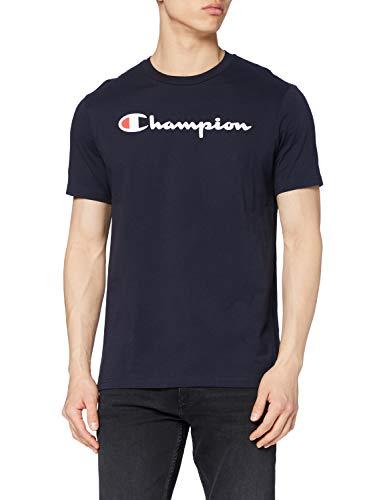 Champion Hombre - Camiseta Classic Logo - Azul, M