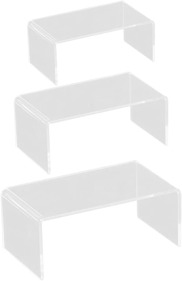 Baluue 3pcs Bargain Acrylic Display Riser Stand Clear NEW before selling Rack