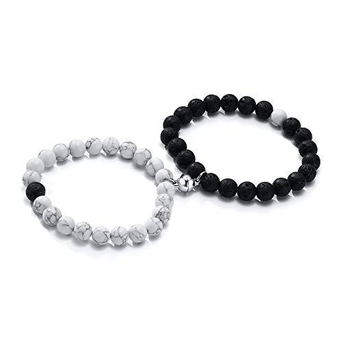 yin yang bracelets VNOX Set of 2 Yin Yang Distance Frienship Beads Bracelet for Men Women Couples Magnetic Bracelet for Him Her Bestfriend Lover Christmas Valentine's Day,Adjustable