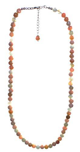 echte Mondstein Halskette Perlen 6 mm mit 925er Silberverschluss, Mondsteinkette