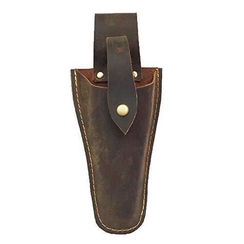 Porte-outils en cuir avec porte-ceinture, étui de jardinage pour pinces, sécateurs, ciseaux ou couteau de jardin, marron foncé