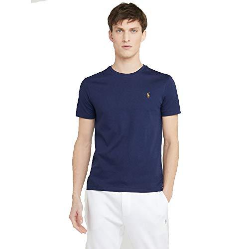 Ralph Lauren T-Shirt Basic da Uomo Custom Slim Fit (XL, Deep Navy)