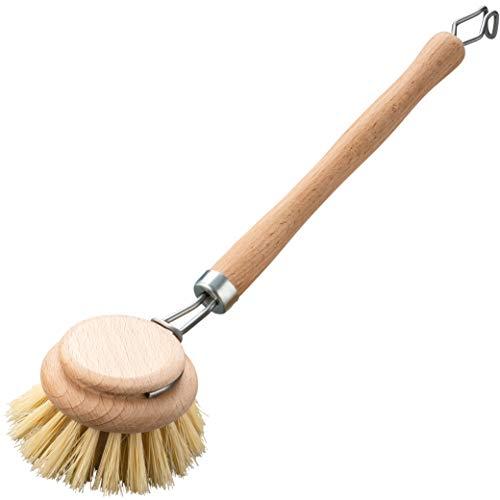 Cepillo de cocina de madera con fibra natural, cepillo de cocina y cepillo de limpieza para vajilla, fregadero y cocina, sin plástico, cepillo de madera y cepillo de botellas, vegano y sostenible