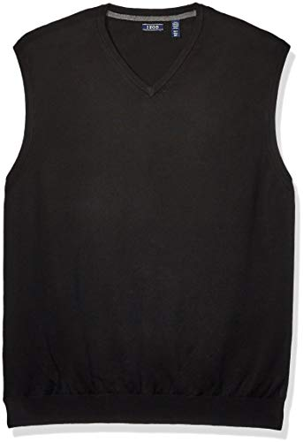 IZOD Men's Big & Tall Big Premium Essentials Solid V-Neck 12 Gauge Sweater Vest, Black, 2X-Large Tall
