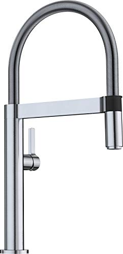 BLANCO CULINA-S Mini Einhebel-Armatur im Profi-Look / Flexibler Brauseschlauch in Edelstahl Finish / Hochdruck