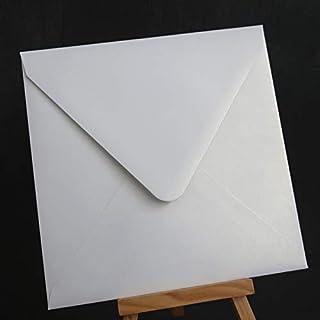 """50pcs 160x160mm(6.2"""" x 6.2"""") Pearl Color Paper Envelope Wedding Invitation Envelope (Color : White)"""