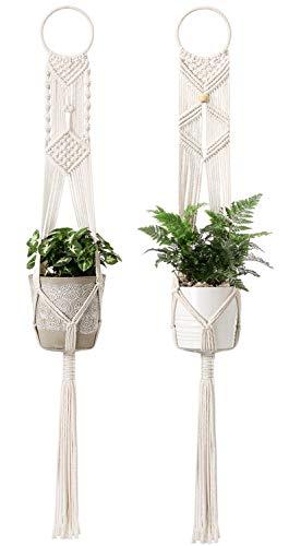 Mkono 2Pcs Macrame Plant Hangers Indoor Wall Hanging Planter Holder Cotton Rope Home Boho Decor 40...