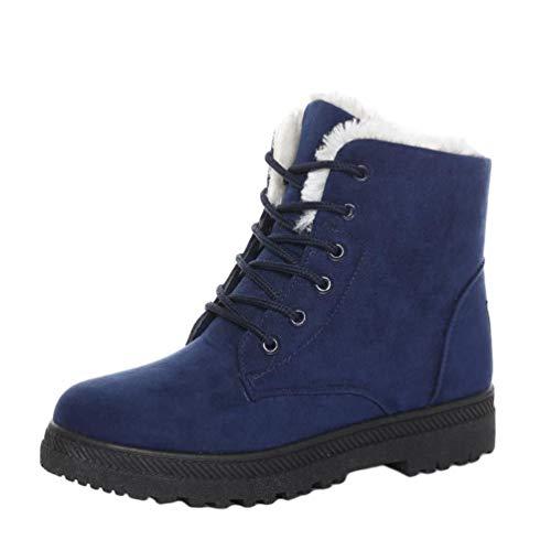 Baijiaye Damen Winter Kurz Stiefel Warme Schneestiefel Fell Gefüttert Stiefeletten Ankle Boots Flache Schuhe mit Kunstfell Winterschuhe Blau