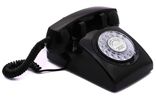 OPIS 60s Cable con Logo de Correos de España: Teléfono Estilo Retro/teléfono Vintage de los años Sesenta con Disco de marcar (Negro)