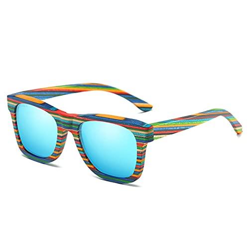 YDDLIE Gafas de sol de bambú de madera fundida de color para hombre Gafas de sol de diseñador originales para hombre