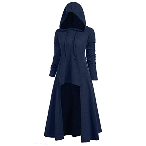 Womens Hoodies Plus Size Vintage Hooded Cloak High Low Sweater Coat Loose Knitted Ribbed Hem Blouse Tops S-5XL (Navy Blue,2X-Large)