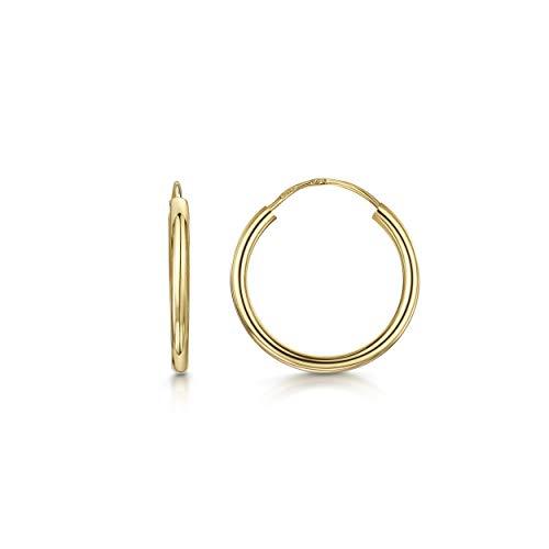 Amberta Aros en Oro Amarillo 9Kt - Pendientes de Aro Clásicos para Mujer - Diámetro: 15 mm