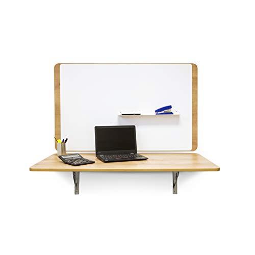 Mesa Plegable de Pared | Escritorio Plegable con Fijación de Acero y Madera de Roble | 19 mm de Grosor 115 x 60 cm