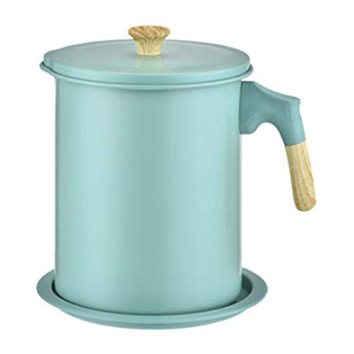 Oil Storage Grease Keeper, 1.7 L Bacon Grease Container With Strainer Vintage (Light Green)