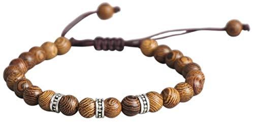 LUCKY BUDDHIST Tibetan Lucky Bracelet + Colgante/Collar! - para Hombres y Mujeres - Pulseras Trenzadas de la Amistad - Pulsera Mantra (Madera Marrón Wenge)