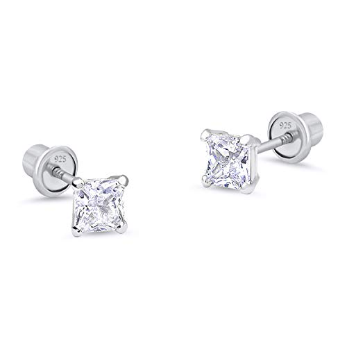 925 Sterling Silver Rhodium Plated 5mm Princess Cut Cubic Zirconia Stud Screwback Baby Girls Earrings