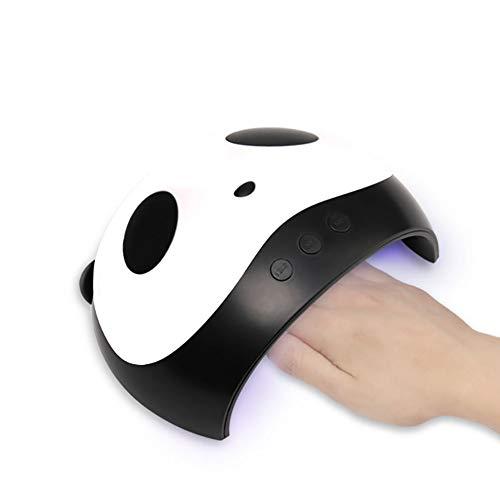 Lessjie Lámpara de uñas LED UV Forma Panda Secadora de uñas 36W Sensor Inteligente 3 Configuración de Temporizador Profesional Gel Pulido Lámpara de curado para salón y hogar