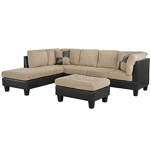 Casa Andrea Milano llc Modern Microfiber and Faux Leather Sectional Sofa and Ottoman Set, Mocha