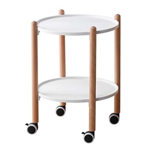 Tables basses Ronde Côté Bois Massif Canapé Salon Petite Face Coin Chariot avec Roues Mobile Petite Table Ronde Cadeau (Color : Blanc, Size : 41 * 41 * 56cm)
